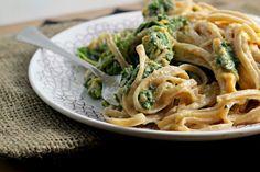 Sweet potato cream pasta with kale