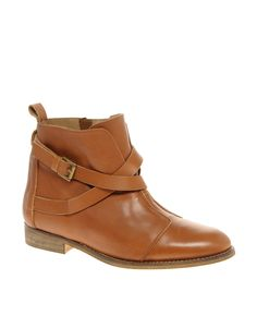 Ark Leather Cross Strap Ankle Boot by ASOS