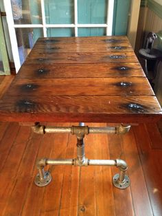 Reclaimed Wood Furniture, Coffee table, Galvanized pipe, industrial, grain silo hatch on Etsy, $353.26 CAD
