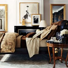 layers, textures, colors...j'adore the artwork  & gold frames .. so warm