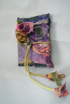 Nuno Felted Journal Cover with Nuno Flowers by sugarplumoriginals