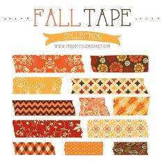 decor crafts, digital scrapbooking, fall digit, craft projects, cottages, cottag market, free fall, washi tape, printabl