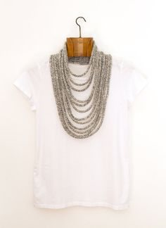 grey wool knitted necklace