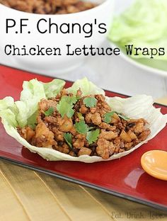 Copycat P.F. Chang's Chicken Lettuce Wraps: I used chicken breast chopped into small pieces and added bamboo shoots. Served it with crispy rice noodles for a crunch. Not sure about the rice vinegar- in the ingredients but not the recipe...  Overall delicious and easy. I'll be making this again.