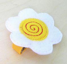 Yellow Felt Daisy  Flower Hair Clip