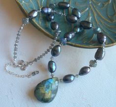Labradorite & Freshwater Pearl Necklace by TheresaJ on Etsy