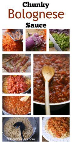Easy Homemade Chunky Bolognese Sauce | 5DollarDinners.com