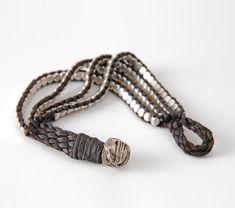 Leather and Silver Beads Wrap Cuff   . . . .   ღTrish W ~ http://www.pinterest.com/trishw/  . . . . #handmade #jewelry #bracelet