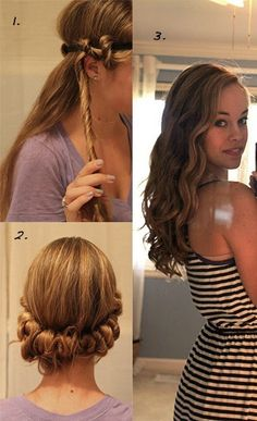 No heat headband curls. Do with slightly damp hair before bed. I'm going to have to try this