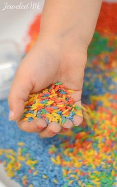 WOW the kids with MAGIC color changing rice.  My girls were in awe as the rice changed colors right before their eyes as they played.... So many fun ways to explore;  Great for sensory play, exploring science, and reviewing colors and color theory