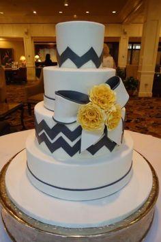 Tier luxury cake - love the chevron in grey