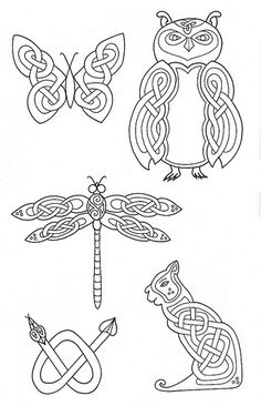 zoomorphic celtic animals great for pyrography projects.