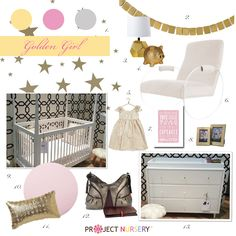 """Golden Girl"" Nursery Design Board #designboard #nursery"