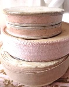 old bolts of faded French ribbon