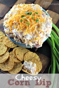 Cheesy Corn Dip ~ Loaded with Corn, Tomatoes, Green Onions & Cheese! This dip will be the talk of the party!