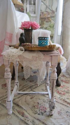 Shabby chic chippy painted softest pink by Vintagewhitecottage