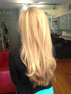 Gorgeous Natural looking multi toned Blonde Highlights with a long layered cut