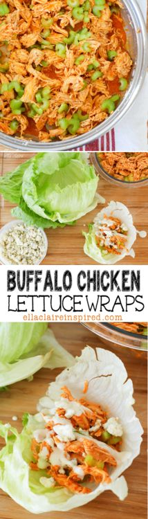 buffalo chicken lettuce wraps // healthy and yummy alternative to wings -- could also serve on a bed of crispy greens #gameday #appetizer #salad