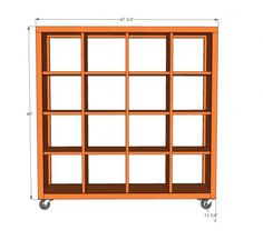 4x4 Rolling Cube Shelf - Adjustable Shelves
