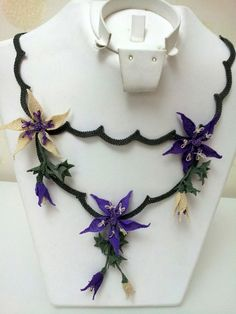 Purple and Beige Star Flowers and Leaves Crochet by berratosun, $120.00