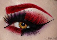 Harley Quinn inspired eye shadow, eye brow and eye lash design by Kiki. Lovely