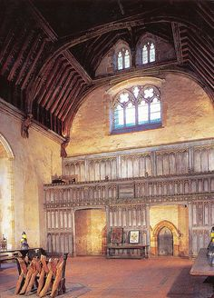 The medieval Baron's Hall at Penshurst Place, Kent. This is one of the properties that Anne of Cleves lived in after her marriage to Henry VIII ended.The original medieval house is one of the most complete examples of 14th-century domestic architecture in England surviving in its original location.