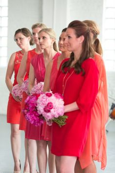 love these mismatched red bridesmaid dresses
