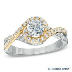 Celebration Grand® 1-1/2 CT. T.W. Diamond Swirl Framed Bridal Set in 14K Two-Tone Gold (I/I1)