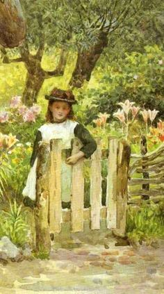 Young Girl By A Garden Gate