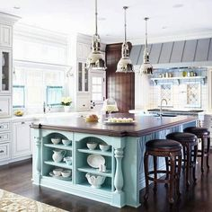 FRENCH COUNTRY COTTAGE: French Cottage Kitchen Inspiration - Love the shelves at the end of the island, especially the detail around them.
