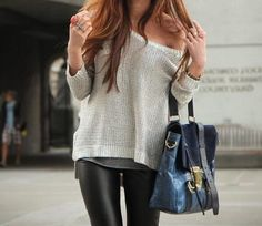 fashion, style, knit sweaters, bag, outfit, tight, oversized sweaters, leather pants, leather leggings