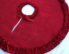 DIY this! Burlap Tree Skirt Red Christmas Tree Skirt  French Farmhouse Modern Country Decor. $70.00, via Etsy.