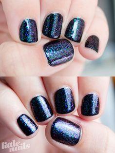 OPI - Black Onyx, Ozotic - 528, Ozotic - 529, love this shimmer on black!!