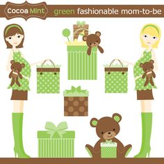 Image detail for -Fashionable Mom-to-Be Clip Art Sets