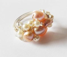 This pearl cocktail ring was created at a Crafty Hen Party and will look gorgeous worn to the wedding! If you want to request any particular colours or materials for your session we always do what we can to help! #CraftyHen #DIY #HenDo