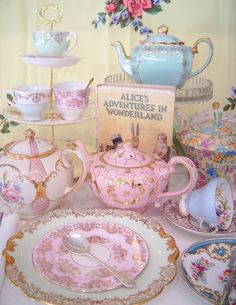 Mad Hatter Tea Party China cup, teapot, tea parti, tea time, tea sets, parties, alice in wonderland, high tea, book