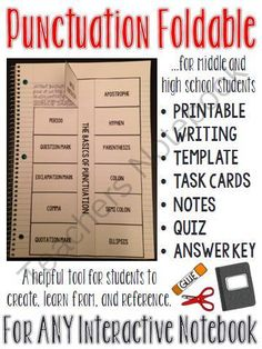 Punctuation Interactive Notebook Foldable (PLUS flash cards, notes and quiz) from The Classroom Sparrow on TeachersNotebook.com -  (9 pages)  - Looking for a new way to teach punctuation? This punctuation foldable can be used as a mini lesson and is a perfect addition to an existing interactive notebook, or perhaps the start of a new one.
