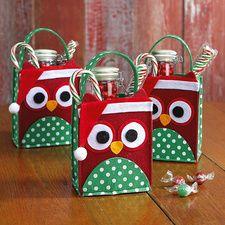 Christmas Owl Felt Treat Bags