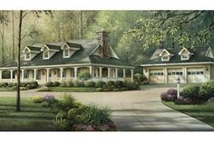 Southern country house plan with inviting wrap-around porch.  Plan 57-329.