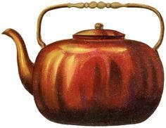 vintag copper, vintag stamp, teapots, teapot imag, vintage, copper teapot, graphic fairi, busi printabl