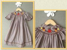 Smocked Fall Leaves Bishop Dress BSL023