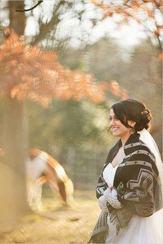Fall Weddings - Love the blanket around her