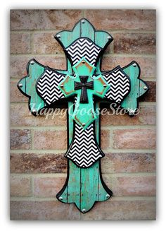 Medium Wall CROSS - Antiqued Turquoise with b&w chevron!  By Happy Goose