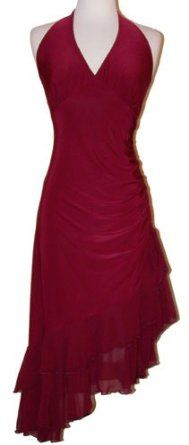 Ruched Ruffle Holiday Party Cocktail Halter Dress: Clothing