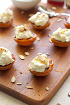 Grilled Apricots with Almond Whipped Cream & Honey