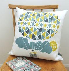 Ballooning cushion on white linen.  roddyandginger  $40