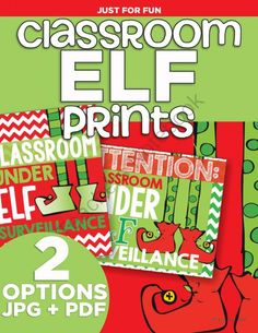 Classroom Elf Prints from KindergartenWorks on TeachersNotebook.com -  (6 pages)  - Adorable elf on a shelf prints to put up in the classroom! Ready to print and comes in 3 sizes.