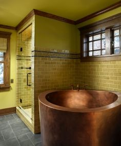 Copper Japanese soaker tub