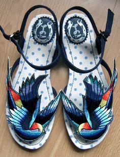rockabilly fashion, swallows, blue, colors, sandals, art shoe, sleeves, alter shoe, rockabilli fashion