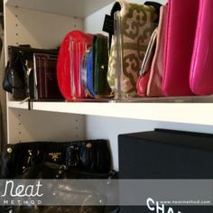 Neat Method, organized closet - shelf dividers  #pursestorage #closetstorage